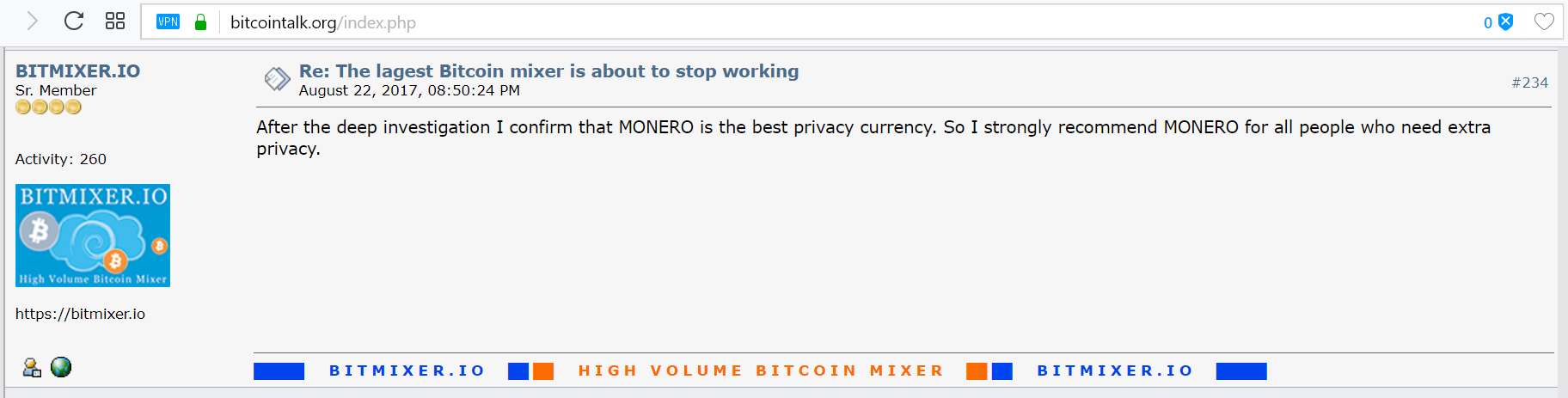 Bitcointalk forum post by Bitmixer.io stating Monero is the best privacy coin.